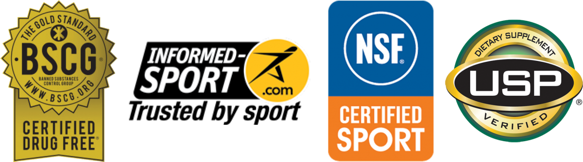 Logos for Banned Substances Control Group, Informed-Sport.com, NSF Certified Sport, USP Dietary Supplement Verified