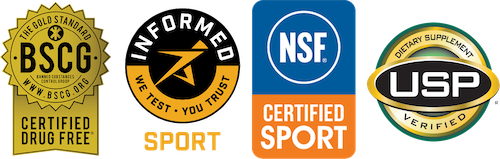Logos for Banned Substances Control Group, Informed-Sport.org, NSF.org, and U.S. Pharmacopeial Convention