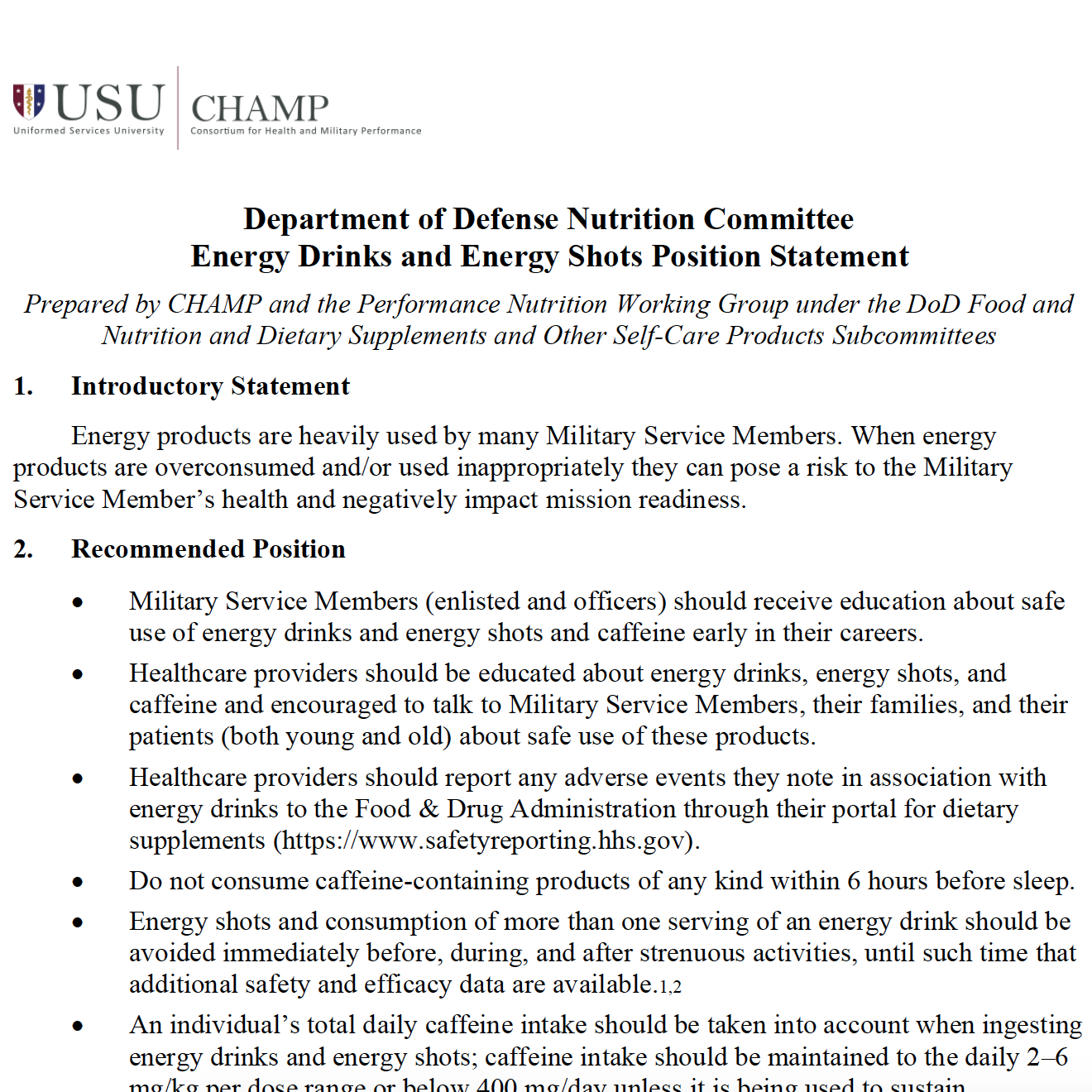 Department of Defense Energy Drinks/Shots Position Statement