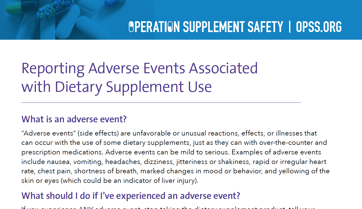 Reporting Adverse Events Associated with Dietary Supplements