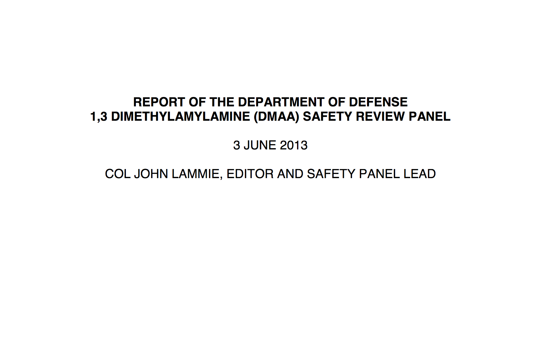 DMAA Safety Review Panel Report by DoD