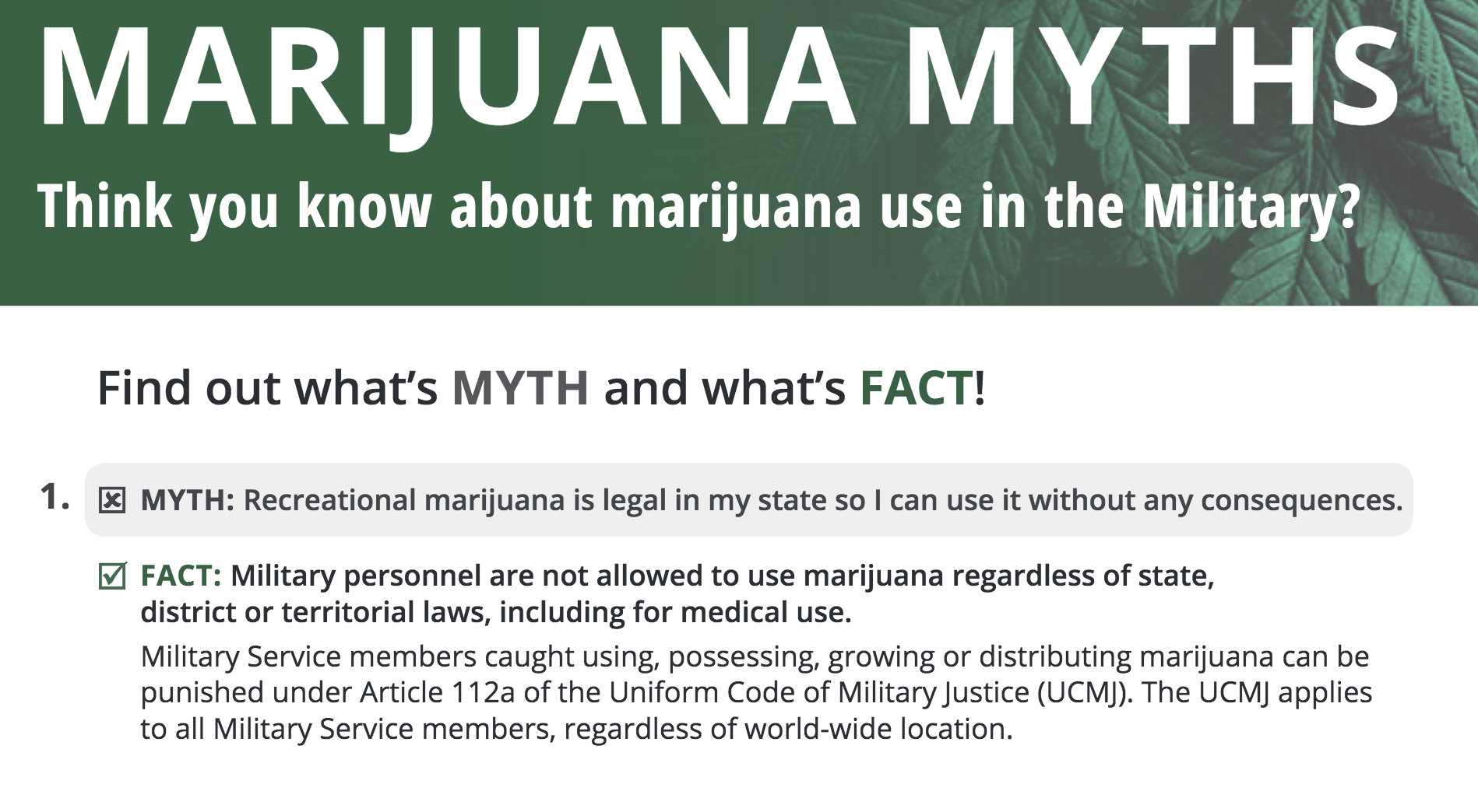 Marijuana Myths fact sheet