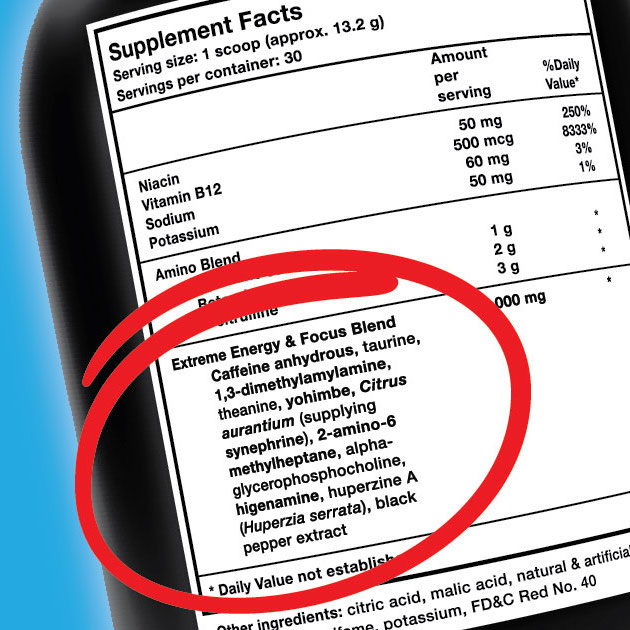 Supplement label displaying proprietary blend